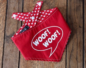 Handmade double sided dog Bandana with 'Woof Woof' vinyl print and red and white heart design fabric.