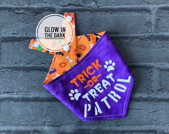 Glow in the Trick or Treat Patrol Double sided Dog Bandana.