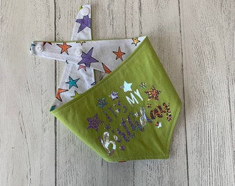 Birthday Dog Bandana in Green and stars fabric.