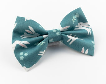 Easter Dog Bow Tie in a Teal leaping rabbit fabric