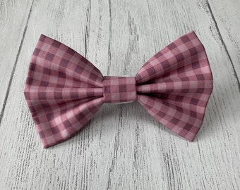 Purple and lilac check Dog Bow Tie