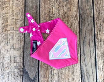 Super Girl vinyl print Handmade double sided dog Bandana in Bright Pink Pink Star fabric.