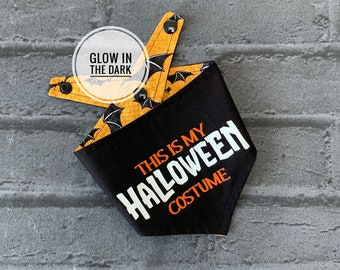 Glow in Dark 'This is my Halloween Costume' Double sided Dog Bandana.