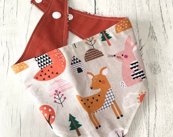 Dog Bandana in a gorgeous woodland friends design with a popper fastening