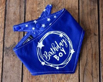 Birthday Boy vinyl print Handmade double sided dog Bandana in royal blue and white stars fabric.
