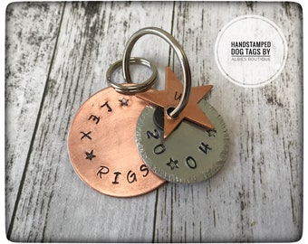Personalised Hand Stamped triple layered Pet / Dog ID Tag in Copper and Aluminium with copper star charm