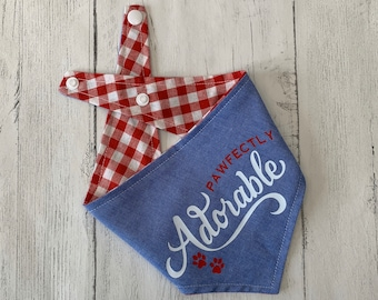 Reversible Pawfectly Adorable Bandana in Denim and red and white gingham