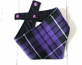 Handmade Dog Bandana in Purple and Black Tartan with a popper fastening