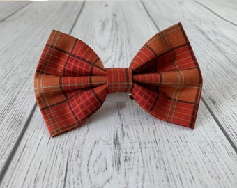 Dog Bow Tie in Autumn Orange Metallic Tartan Fabric