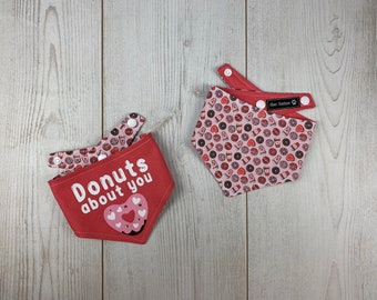 Donuts About You Reversible Valentines Dog Bandana