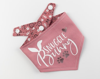 Blush Pink Snuggle Bunny reversible dog bandana
