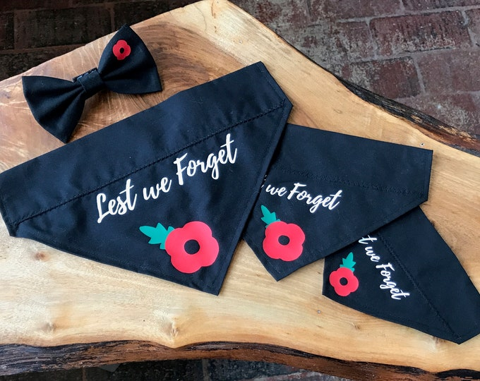 Featured listing image: Handmade Dog Bandana with Remembrance Poppy and Lest we Forget Text
