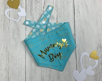 Mummy's Boy Blue and gold metallic reversible Dog Bandana