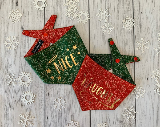 Featured listing image: Naughty or Nice double sided Christmas dog Bandana