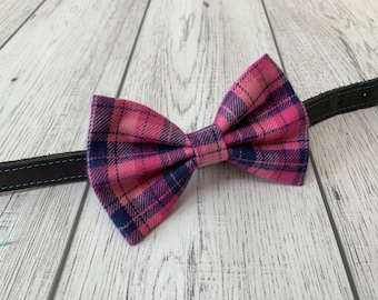 Pink and Purple check Dog Bow Tie