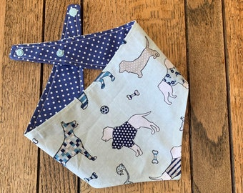 Double Sided Dog Bandana in Blue 'Best in Show' fabric with complimentary blue and white polka dots.