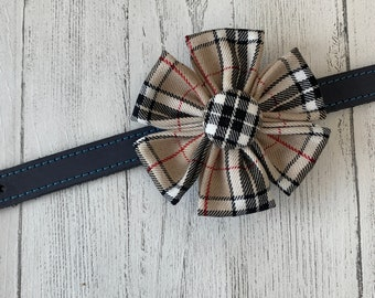 Beige and Red Tartan Dog Collar Flower