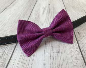 Pink and Purple Herringbone Dog Bow Tie