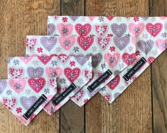 Dog Bandana in Pink Scandi Heart Design