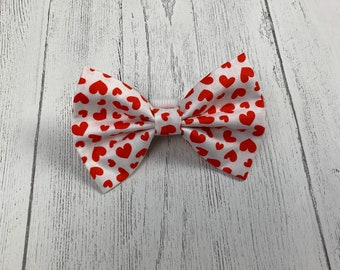 Valentines Dog Bow Tie in gorgeous white with red hearts fabric.