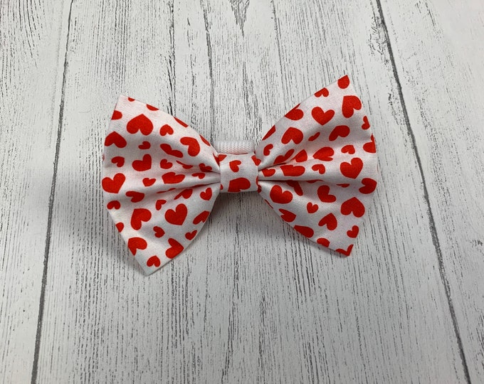 Featured listing image: Valentines Dog Bow Tie in gorgeous white with red hearts fabric.