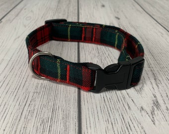 Stunning handmade red and green tartan Dog Collar.