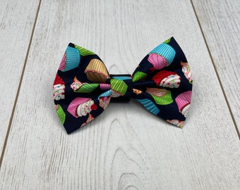 Dark Blue Pup Cakes Birthday Dog Bow Tie