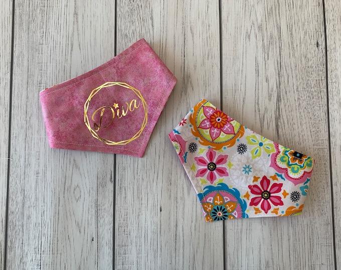 Featured listing image: Dog Bandana | Bright pink and turquoise floral | Gold metallic | 'Diva' vinyl print | Reversible Bandana