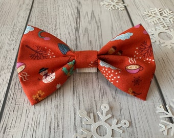 Red Dog Bow Tie with Christmas motifs