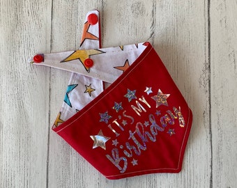 Birthday Dog Bandana in Red and stars fabric.