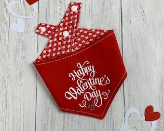 Red Happy Valentines Day vinyl print double sided dog Bandana