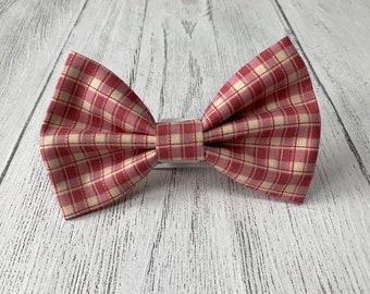 Red and ivory check Dog Bow Tie