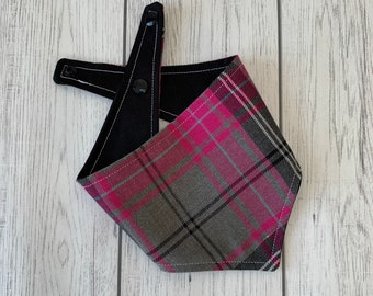 Pink and Grey Tartan Dog Bandana with a popper fastening