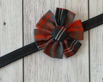 Orange and Grey Tartan Dog Collar Flower