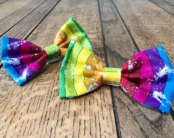 Dog Bow Tie in Rainbow Stripe