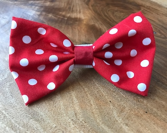 Handmade Dog Bow Tie in Red with White Polka Dots
