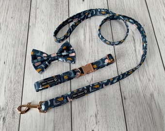 Dog Collar and Lead in a Blue, Mustard and Blush Geometric Fabric with Rose Gold hardware / dog collar and lead set