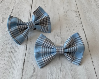 Handmade Dog Bow Tie in Sky Blue and Grey Tartan