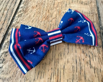 Handmade Double Dog Bow Tie in 'Ships Ahoy' Anchor and Stripe Fabric in Navy, Red and White