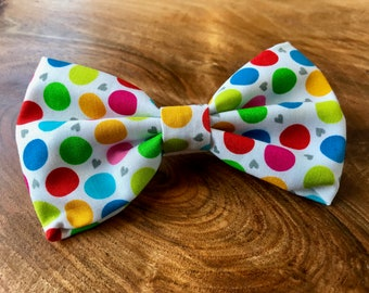 Handmade Dog Bow Tie in in Rainbow 'lifes a ball' spot fabric.