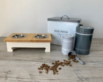 Small Double Bowl Pine Topped Raised Dog Feeding Station