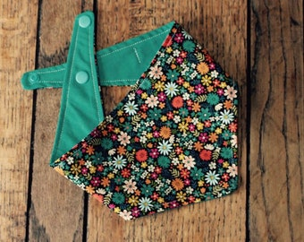 Pretty floral teal, orange and pink double sided dog bandana.