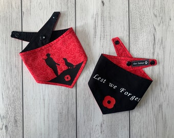 Remembrance Dog Bandana with silhouette and Lest we Forget Text