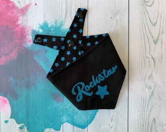 Reversible Dog Bandana with a 'Rockstar' vinyl print/ Black with Blue Stars / Glitter Bandana / Rockstar Bandana