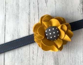 Mustard Dog Collar Flower in a wool felt fabric
