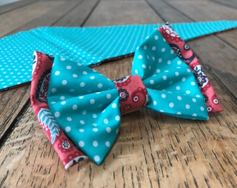 Double Dog Bow in Turquoise Polka Dot with contrasting Coral Paisley Fabric.