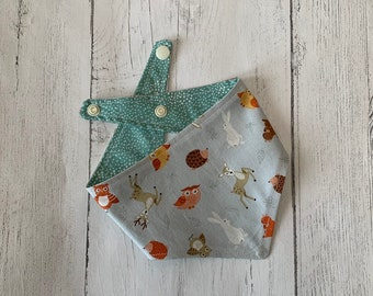 Woodland friends double sided Dog Bandana with a popper fastening