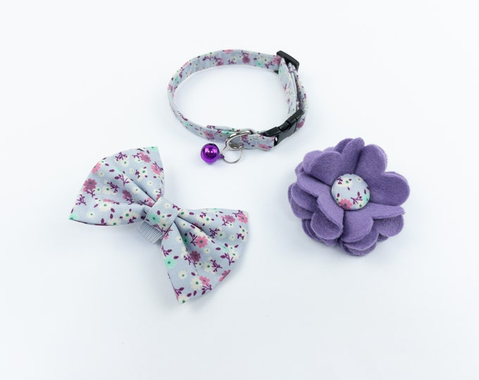 Featured listing image: Lilac floral handmade cat collar bow and flower