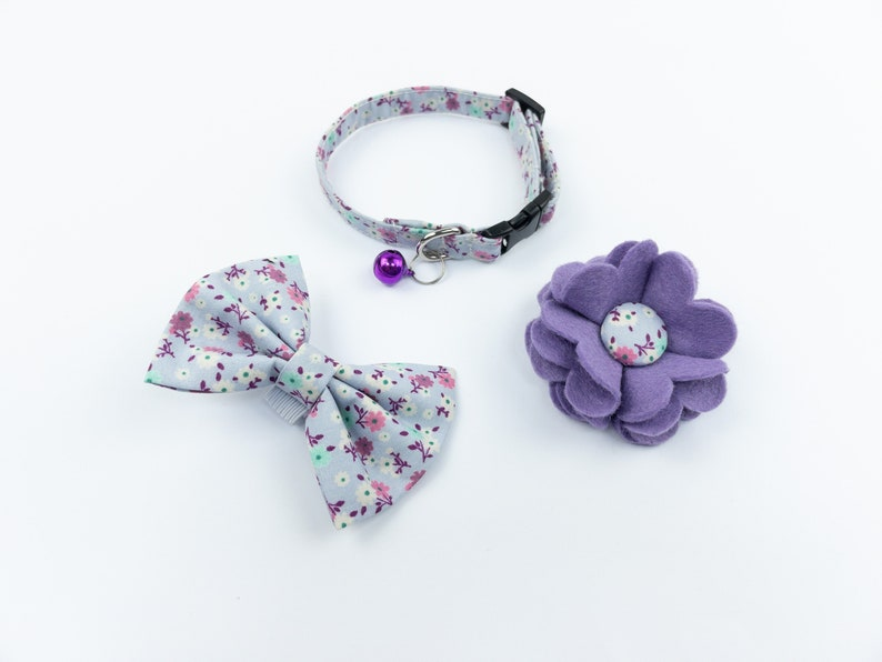 Lilac floral handmade cat collar bow and flower Collar, flower & Bow