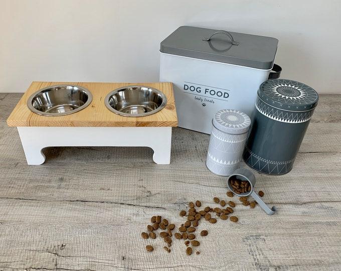 Featured listing image: Medium Double Bowl Pine Topped Raised Dog Feeding Station